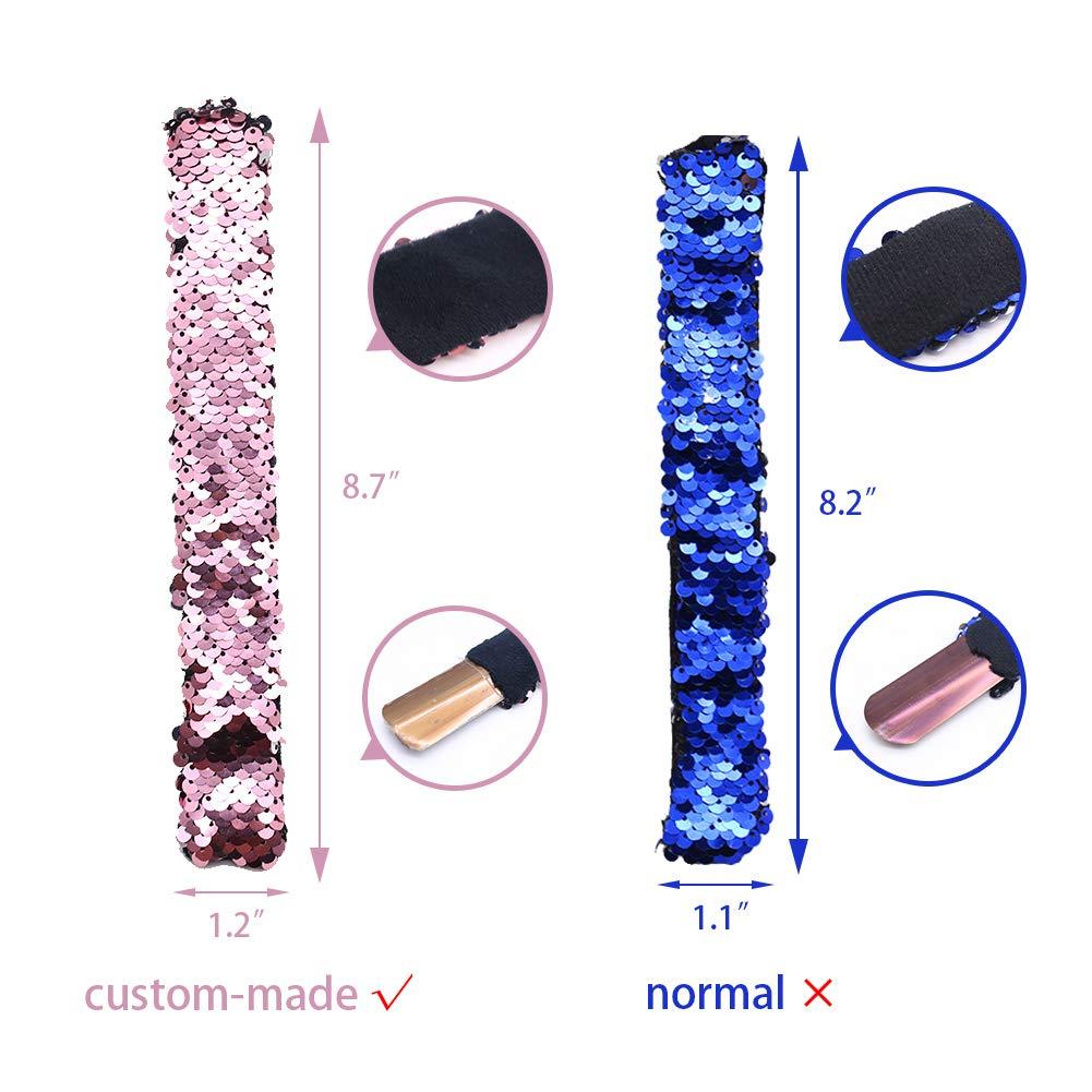 VGoodall Slap Bracelet,24pcs Mermaid Bracelet Reversible Sequin Slap Flip Wristband Bracelet for Kids Birthday Party Favors Supplies