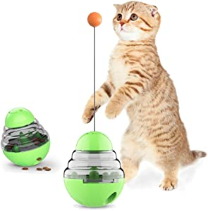 PAOPO Cat Slow Feeder Ball,Cat Food Dispenser Slow Eating Interactive Cat Toy Ball Detachable Tumbler Shaped Pet Treat Ball