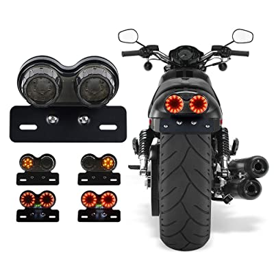ANKIA 40-LED 40W Motorcycle Tail Light Integrated Running Lamp Brake&Turn Signal Light with License Plate Bracket for Harly Motorcycle Street Bike Cruiser Chopper (Black): Automotive