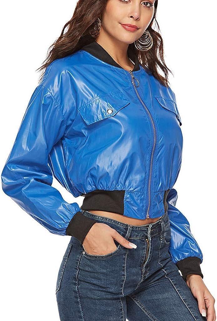 FRAUIT Fr/ühling Damen Kurzmantel Stehkragen Casual Baseball Jersey Zipper Overcoat Outwear Mode Elegant Kurzmantel Glatt Atmungsaktiv Weich Bequem Sport Freizeit Mode Streetwear