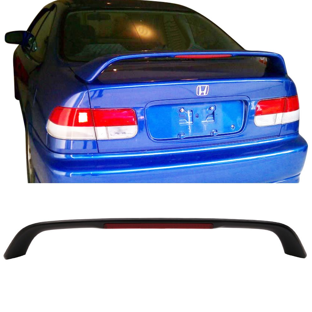 2007 2008 2009 2010 Unpainted Black ABS Added On Rear Deck Lip Wing With 3rd Brake LED Light Bodykits by IKON MOTORSPORTS Trunk Spoiler Compatible With 1996-2000 Honda Civic 2-Door Coupe