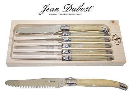French LAGUIOLE Dubost - bocina - 10 de punta redonda para pizarra de cuchillos - 22