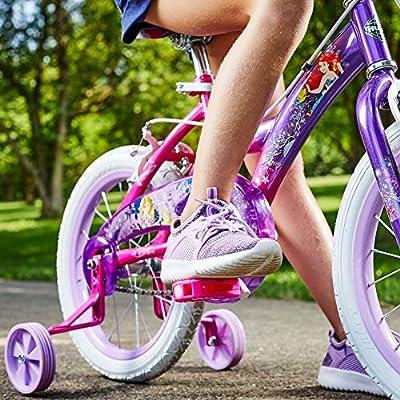 Huffy Disney Princess Kid Bike w/ Streamers & Training Wheels, Pink/Purple: Sports & Outdoors