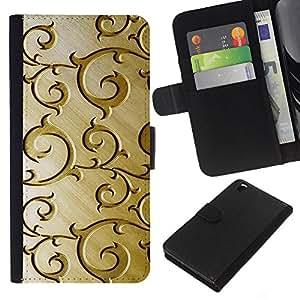 Planetar® Modelo colorido cuero carpeta tirón caso cubierta piel Holster Funda protección Para HTC DESIRE 816 ( Oro Modelo de madera floral de Brown )