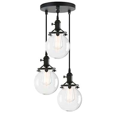 Phansthy Chandelier Light 3 Lights Industrial Pendant Light with 5.9 Inch Clear Glass Canopy