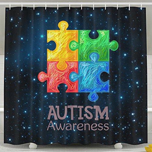 Autism Awareness Shower Curtain Fabric Bathroom Shower Curtain Set,72x60 Inch