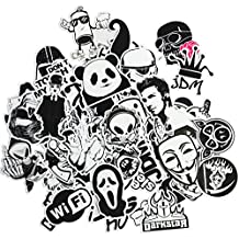 Dr.Qiiwi 100pcs Random New Styles DIY Vinyl Decal Car-Styling Bumper Stickers Graffiti Patches For Car Motorcycle Bicycle Luggage Notebook Laptop Skateboard (Black and White)