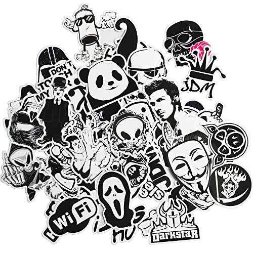 Dr.Qiiwi 100pcs Random New Styles DIY Vinyl Decal Car-Styling Bumper Stickers Graffiti Patches For Car Motorcycle Bicycle Luggage Notebook Laptop Skateboard (Black and (New Car Sticker Decal)