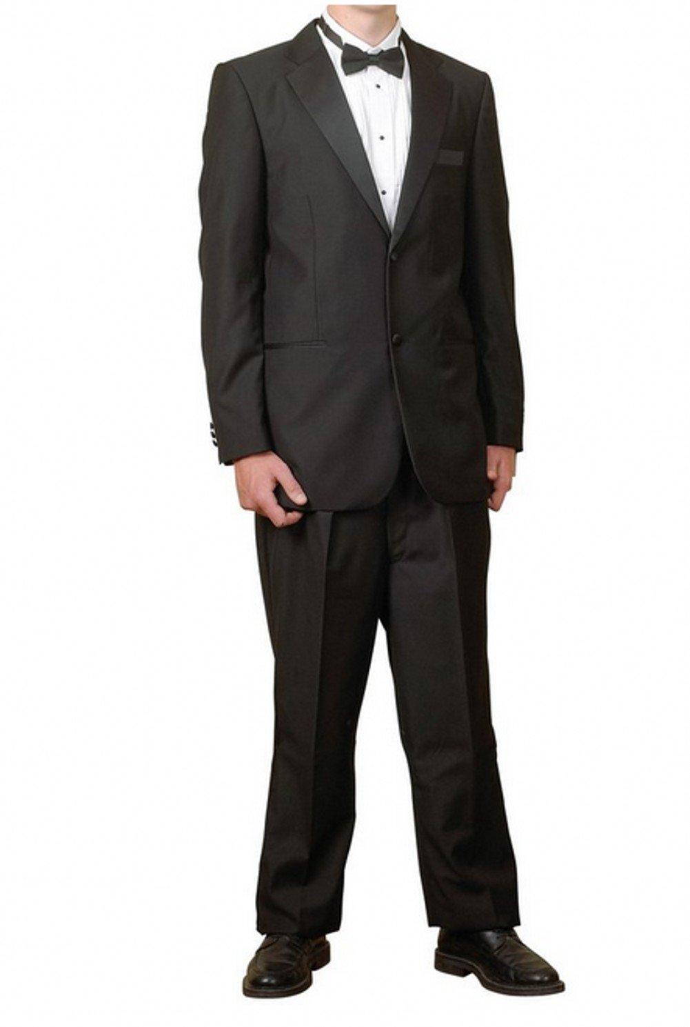 New Mens 2 Button Black Tuxedo Suit - Includes Jacket and Pants XXXXXXL