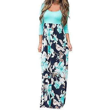 f26f990aad50 Notdark Damen Bodenlanges Kleid Lange Jersey Maxikleid Blumendruck Boho  Maxikleid Tank Kleider (S, Blau