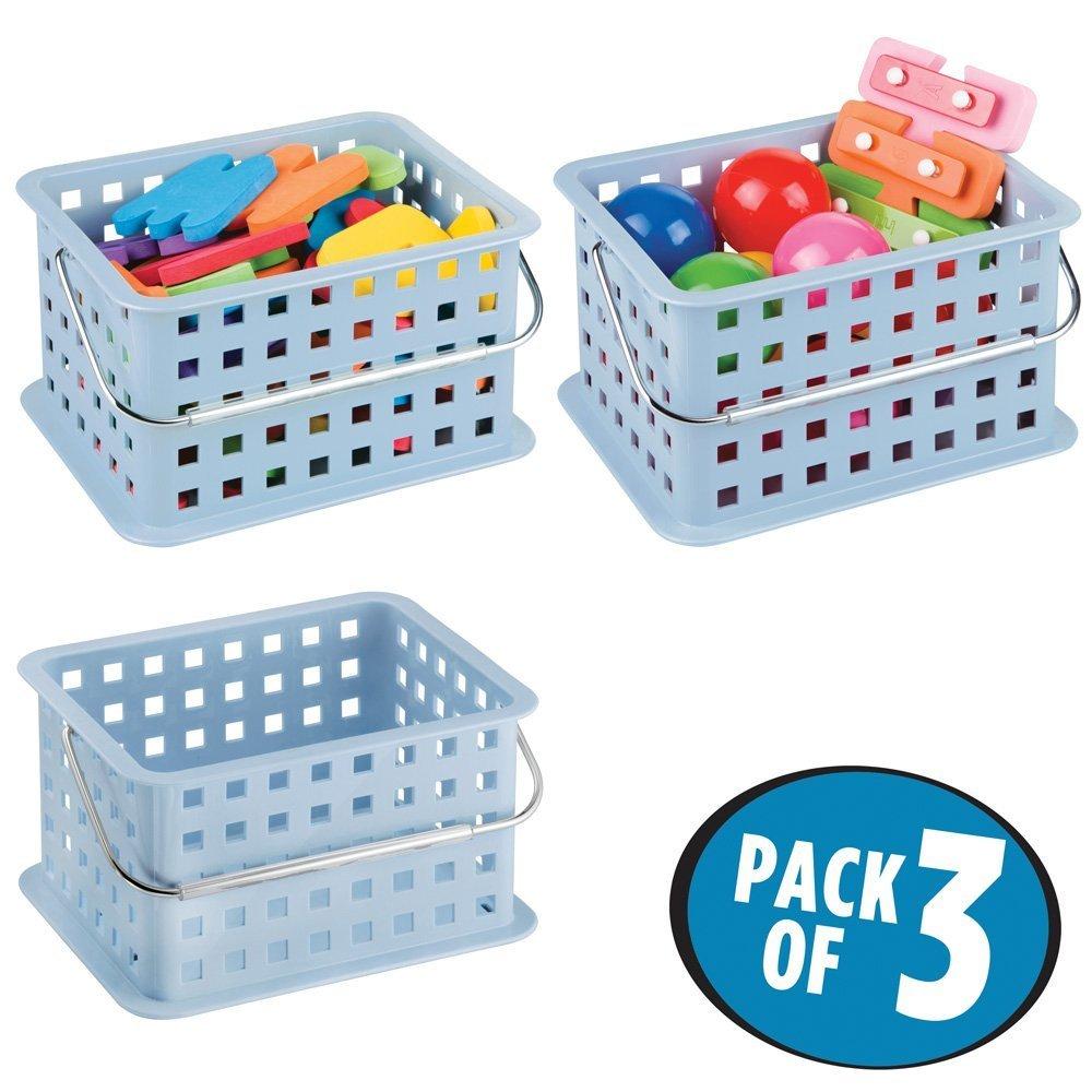 mDesign Caja perfecta como caja almacenaje para juguetes – También ideal como caja para guardar ropa – Pack de 3 con unas medidas de 23, 5 cm x 17, 8 cm x 12, 7 cm en color azul MetroDecor 5741MDT