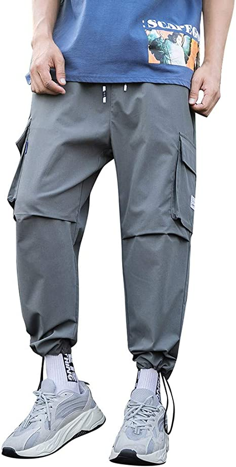Palarn Casual Athletic Cargo Pants Clothes Mens Summer Fashion Overalls Casual Pure Colour Comfortable Trousers