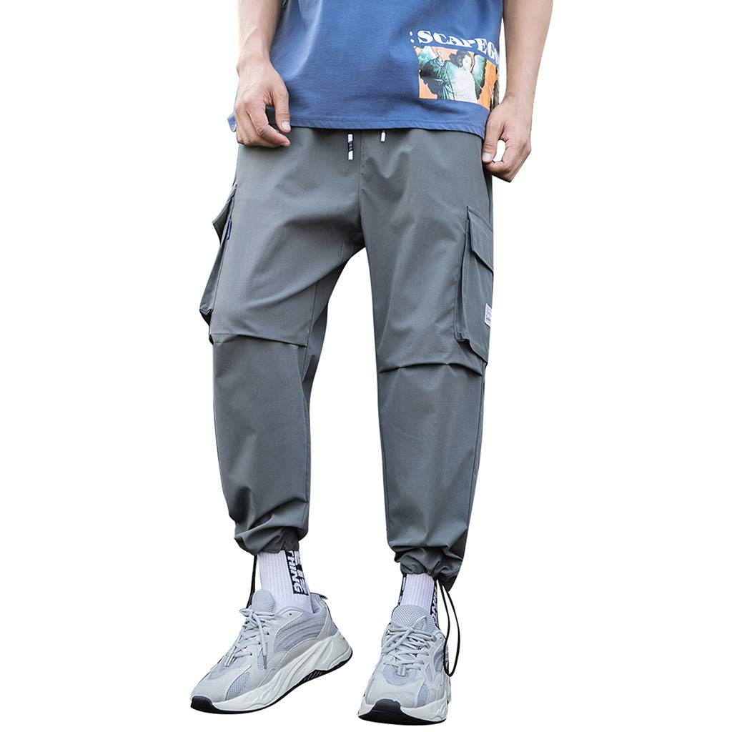 Men's Casual Pants Elastic Waist Drawstring Pure Color Comfortable Pant with Multi-Pocket Overalls Gray