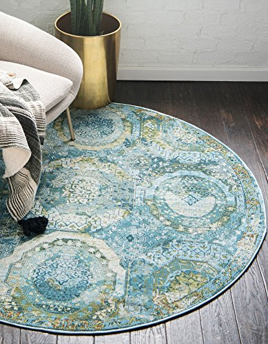 Unique Loom Baracoa Collection Bright Tones Vintage Traditional Light Blue Round Rug (8' 4 x 8' 4)