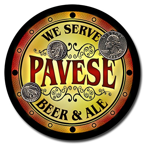pavese-family-name-beer-and-ale-rubber-drink-coasters-set-of-4