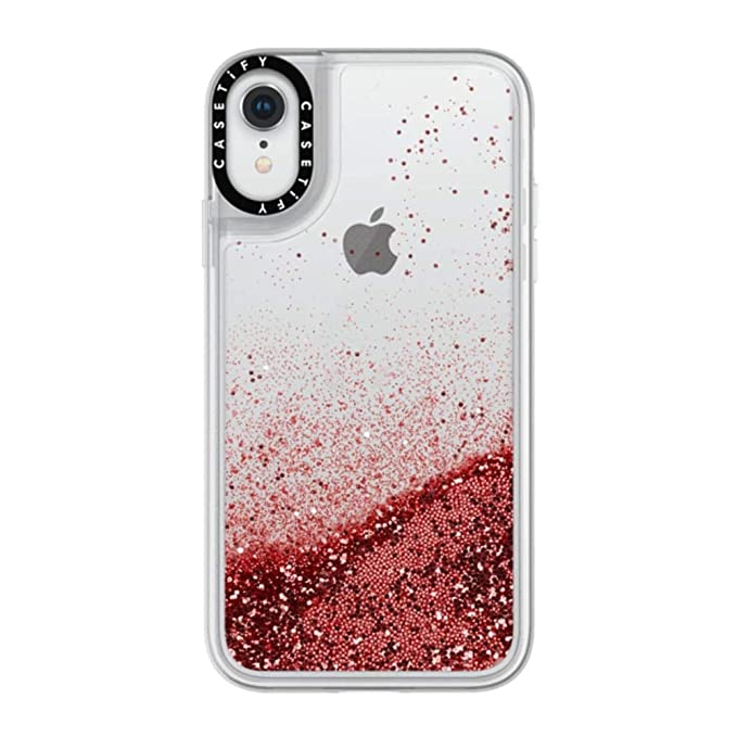 Casetify Red Glitter iPhone XR Case with Red Scarlet Floating Glitter  Sparkle in Liquid Clear Back and Shockproof Drop Proof Frost Bumper and  Wireless