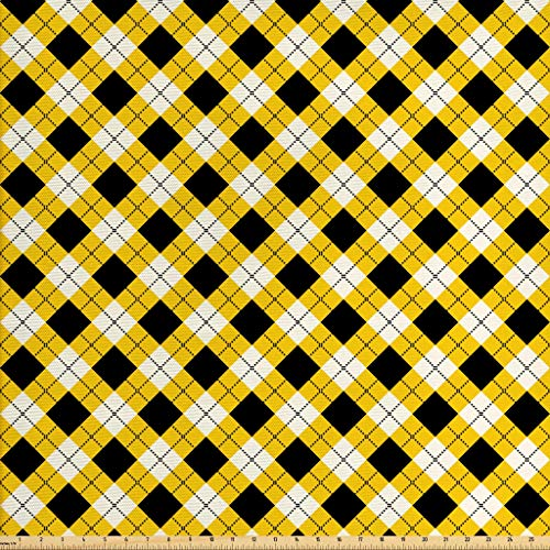 Ambesonne Geometric Fabric The Yard, Argyle Pattern Rhombuses Dotted Lines Grid Plaid Design, Decorative Fabric Upholstery Home Accents, 2 Yards, Yellow Black White