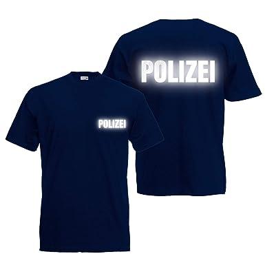 Shirt-Panda Herren Polizei T-Shirt - Druck Brust   Rücken Reflex Dunkelblau  ( 3662fa98a1