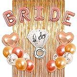 Arts & Crafts : Bachelorette Party Decorations Bridal Shower kit - BRIDE Foil Balloon, Ring Foil Balloon, 2 Heart Foil Balloons, 12 Latex Balloons, Metallic Foil Fringe Curtains, Party Supplies by MM Design