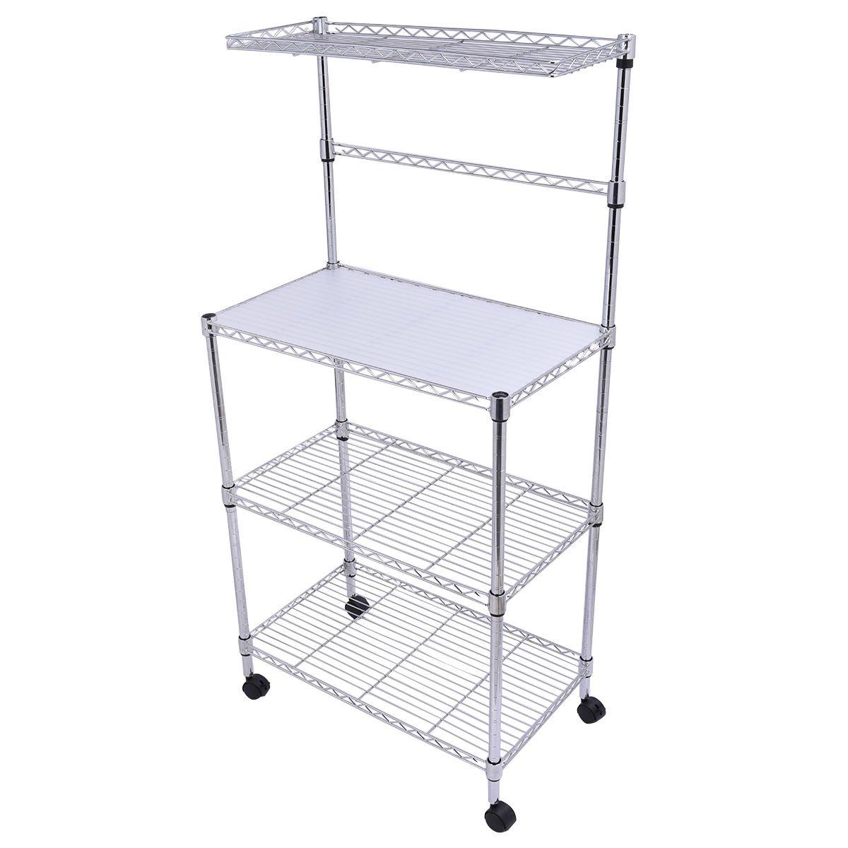 Amazon.com: 3 Tier Kitchen Bakeru0027s Rack Microwave Oven Stand Storage Cart  Workstation Shelf: Home U0026 Kitchen