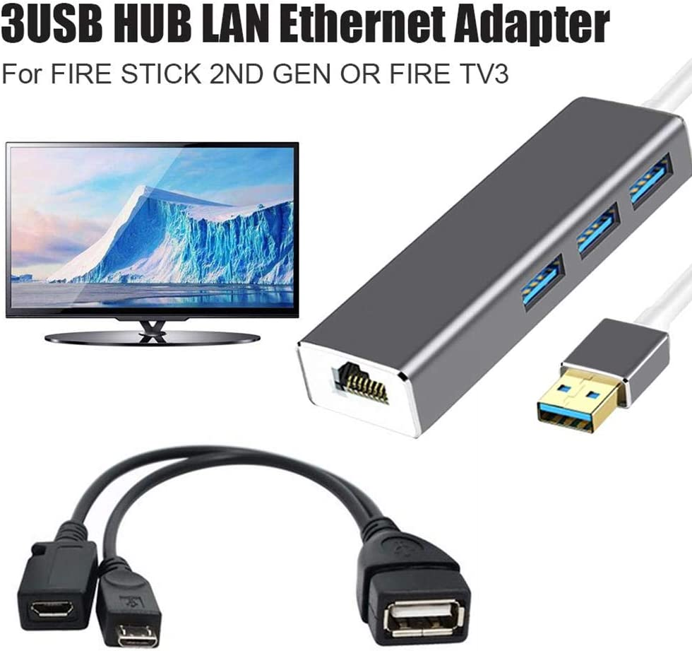 IMSHI Ethernet Adapter 3 USB Hub LAN Ethernet Adapter OTG USB Cable for FIRE Stick 2ND GEN FIRE TV3 Stop The Buffering