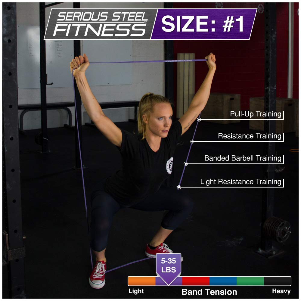 """Purple - #1 Pull-Up Band   Assisted Pull-up Loop Band   Resistance & Stretch Band Size: 1/2"""" x 4.5mm Resistance: 5-35lbs by Serious Steel Fitness (Image #4)"""