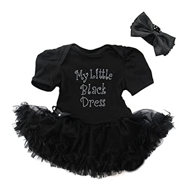 9a53152f0 Amazon.com  Baby Rhinestone My Little Black Dress Bodysuit ...