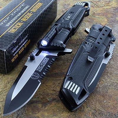 Tac-Force Speedster EMT EMS Folding Pocket Rescue Knife Serrated LED Light NEW!!