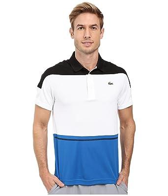 bb7ff6e3 Lacoste Men's T2 Short Sleeve Color Block Ultra Dry Black/White/Ink Polo  Shirt