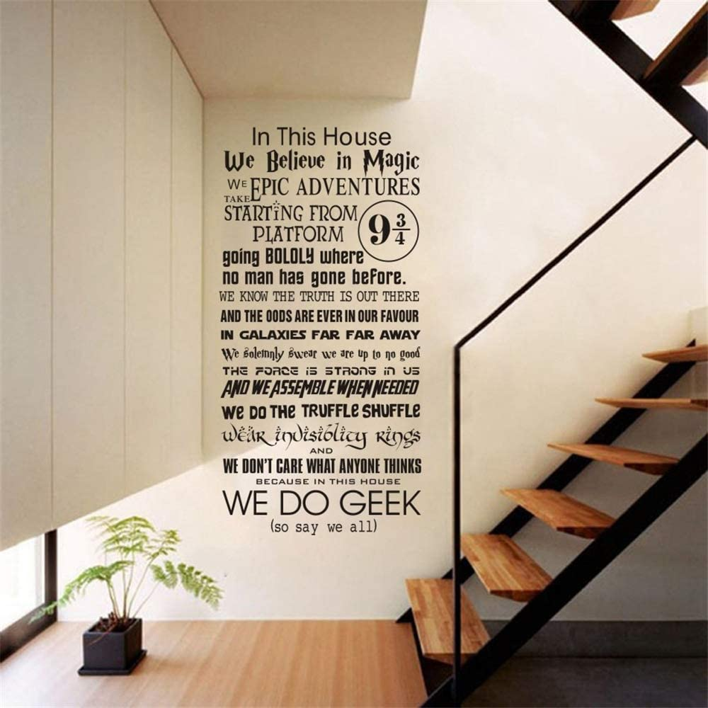 Tauis Wall Decal in This House We do Geek Vinyl Wall Sticker Mural Harry Potter Quote Decal Bedroom Decor Living Room Decoration Art Poster