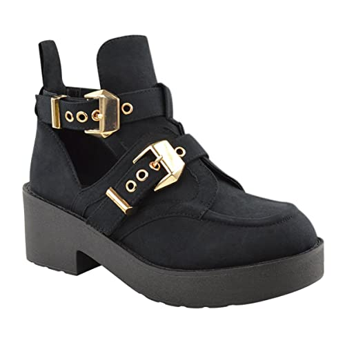 Fashion Thirsty Mujer Tacón Bajo Negros Botines Invierno Grueso Trabajo Estilo Informal Talla - Negro Ante Artificial, 36: Amazon.es: Zapatos y complementos