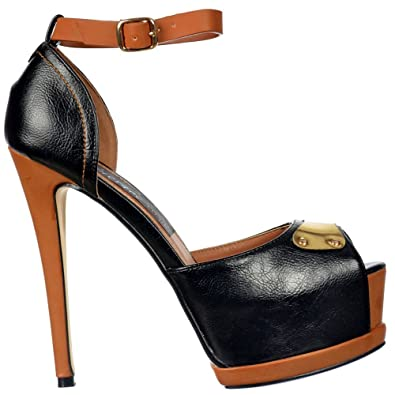 29f07889071 Onlineshoe Women s Two Tone Peep Toe Stiletto Heel Badge Leather Effect  Pump UK3 - EU36 -
