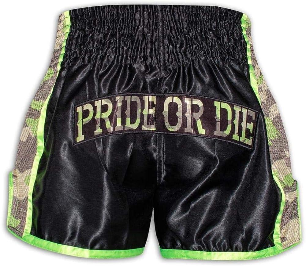 Thaiboxhose f/ür Herren mit Air-Mesh-Gewebe Pride or Die Muay Thai Shorts RAW Trainig Camp Jungle Camo