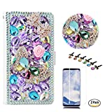 STENES LG V35 ThinQ Case - Stylish - 3D Handmade Bling Crystal Butterfly Bows Flower Design Wallet Credit Card Slots Fold Media Stand Leather Cover Case for LG V35 ThinQ - Light Purple