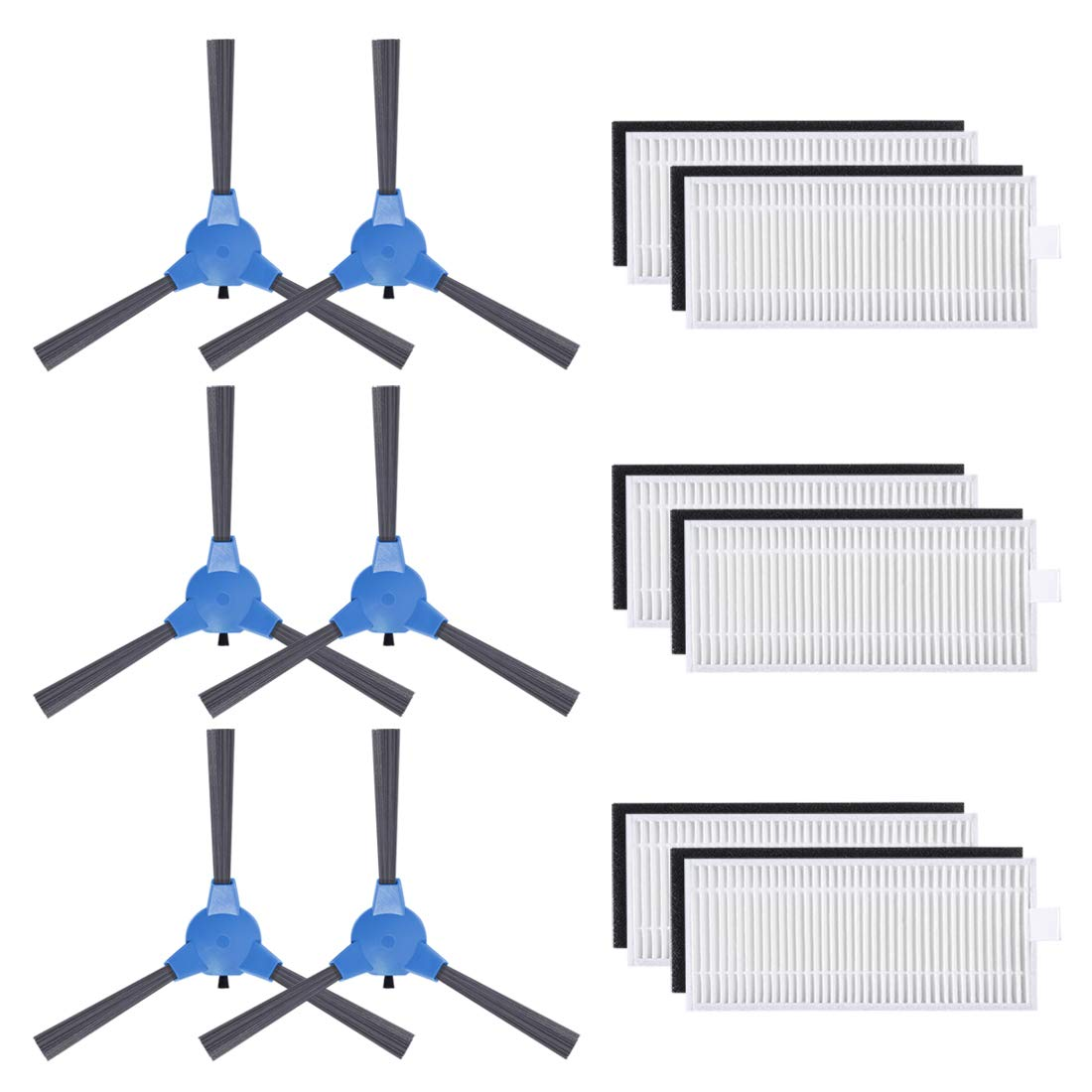 Replacement Parts Filters Side Brushes Compatible for Boost IQ RoboVac 11S, RoboVac 30, RoboVac 30C, RoboVac 15C, RoboVac 12, RoboVac 35C Robotic Vacuums Accessories (Pack of 12)