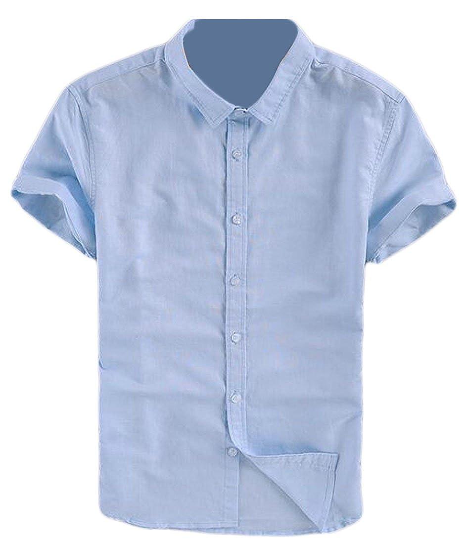 KLJR-Men Standard-Fit Linen Short-Sleeve Lightweight Button Shirt