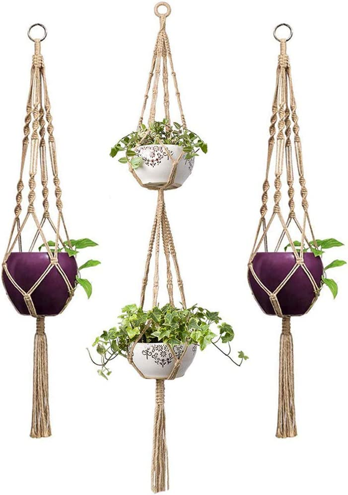 Mkono 3 Pcs Macrame Plant Hanger Indoor Outdoor Hanging Planter Basket Jute Rope-Modern Boho Home Decor