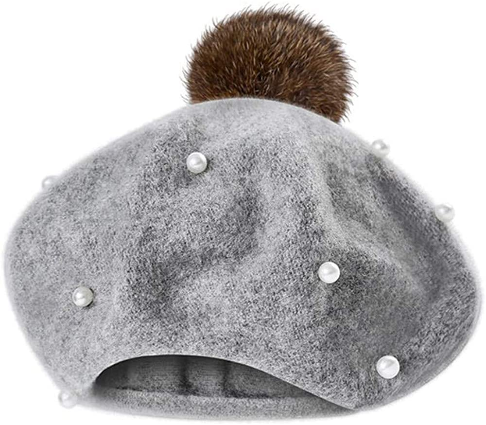 Zimuuy Infant Toddler Baby Kids Boys Girls Pearly Ball Beanie Winter Warm Hairball Berets Hat Cap