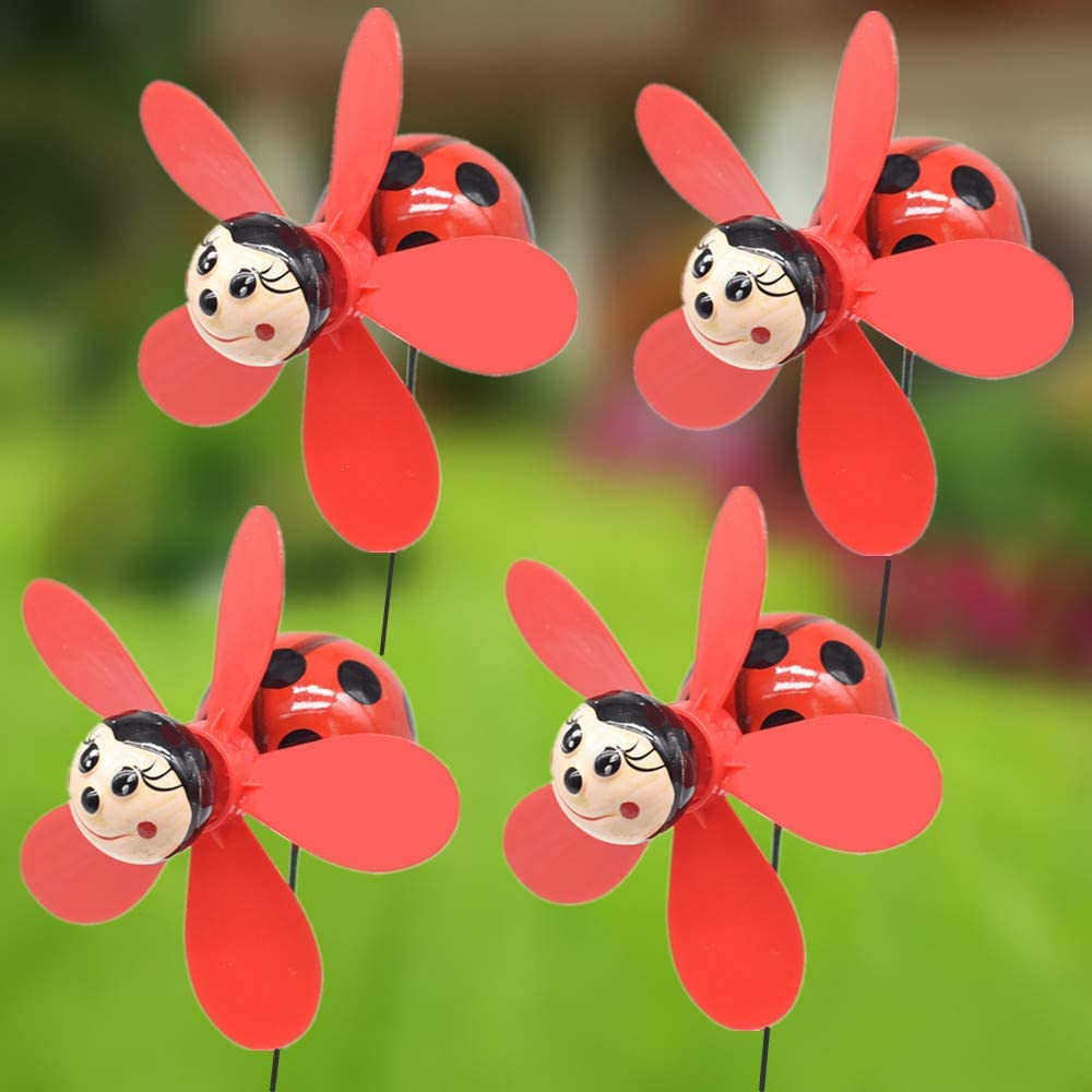 FENELY Garden Pinwheels Whirligigs Wind Spinner Windmill Toys for Kids Yard Decor Lawn Decorations Ladybug Decorative Garden Stakes Outdoor Whirlygig Windmills Gardening Art Whimsical Baby Gifts