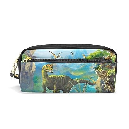 isaoa dinosaurio impreso estuche gran capacidad Durable bolsa de maquillaje lápiz bolsa para niños niñas estudiantes de la escuela, el regalo perfecto ...