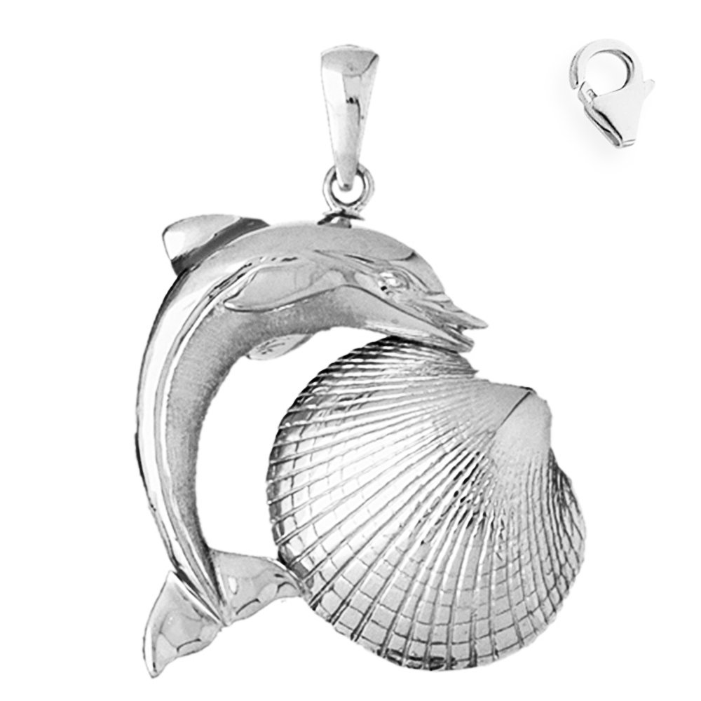 Jewels Obsession Shell With Dolphin Pendant Sterling Silver 55mm Shell With Dolphin with 7.5 Charm Bracelet