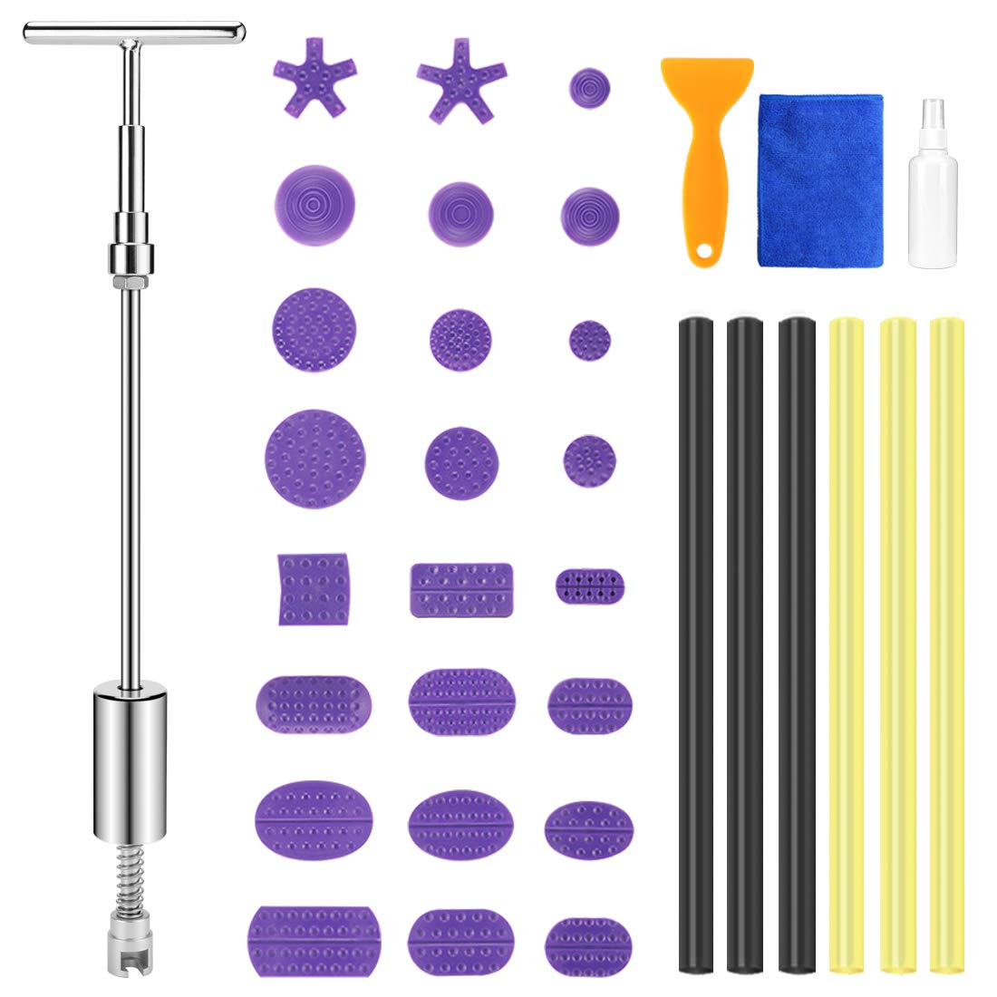 BBKANG 35pcs T Puller paintless dent Repair Remover Removal kit for car dent Door ding Hail Damage relieble Tool