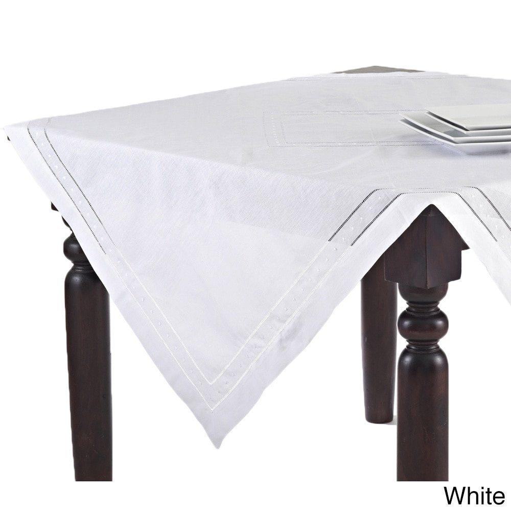 Fennco Styles Hand Hemstitched and Embroidered Swiss Dot Tablecloth (65''x140'' Rectangular, White)