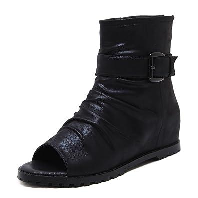 Sandalen der Frauen in der Höhe Fisch Mund Erhöhen Sandalen Flache Keil Gürtelschnalle, Schwarz, 38 LEIT