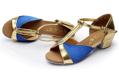 WYMNAME Mädchen Latin Tanzschuhe,Kind Dancing Schuhe Niedrigen Absätzen Verschleißfeste Sandale-A Fußlänge=17.8CM(7Inch)