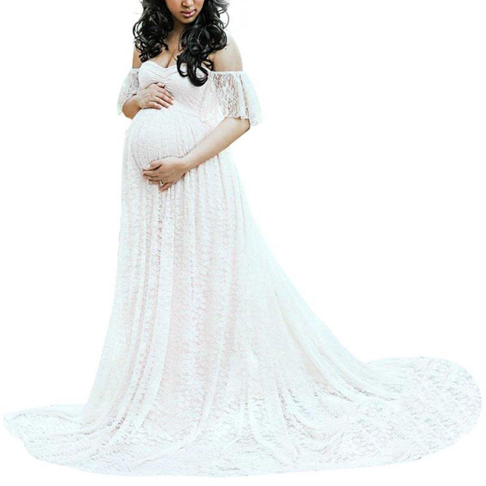 WGIA Women\'s Maternity Dress Lace Photography Pregnant Dress Ruffle ...