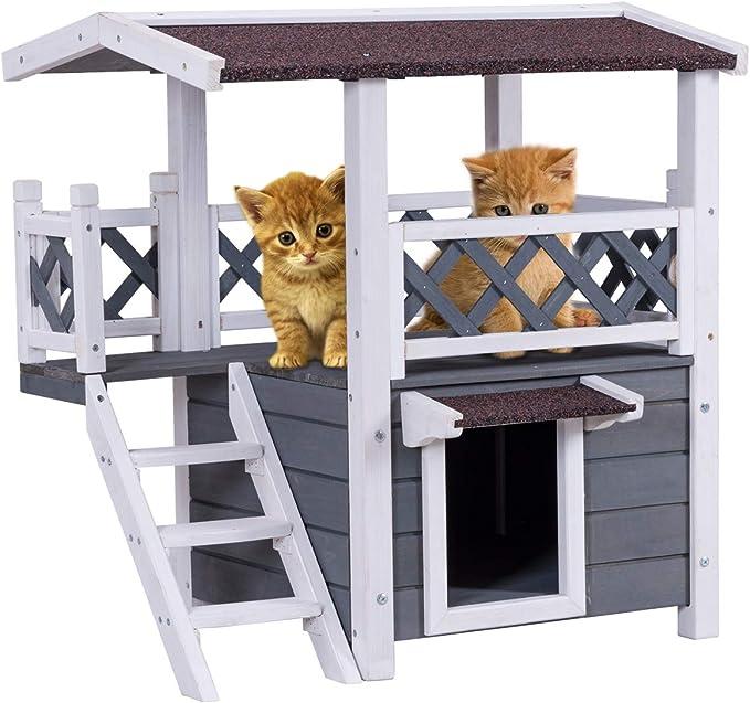 Costway - Casa para gatos con escalera, para exteriores, diseño de doble piso, resistente a la intemperie, 74 x 54 x 71 cm: Amazon.es: Productos para mascotas