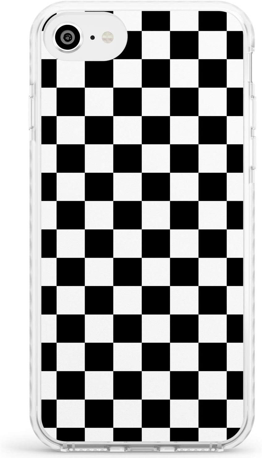Negro A Cuadros Funda de Teléfono de Goma a Prueba de choques Bumper Cover para iPhone 6, para iPhone 6S Tablero De Damas Tartán Comprobado Patrón Inspector