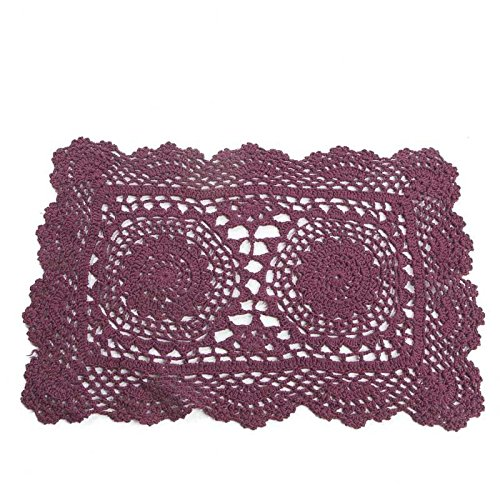 "15"" Burgundy Rectangle Cotton Hand Crocheted Lace Doilies, Set of 3"