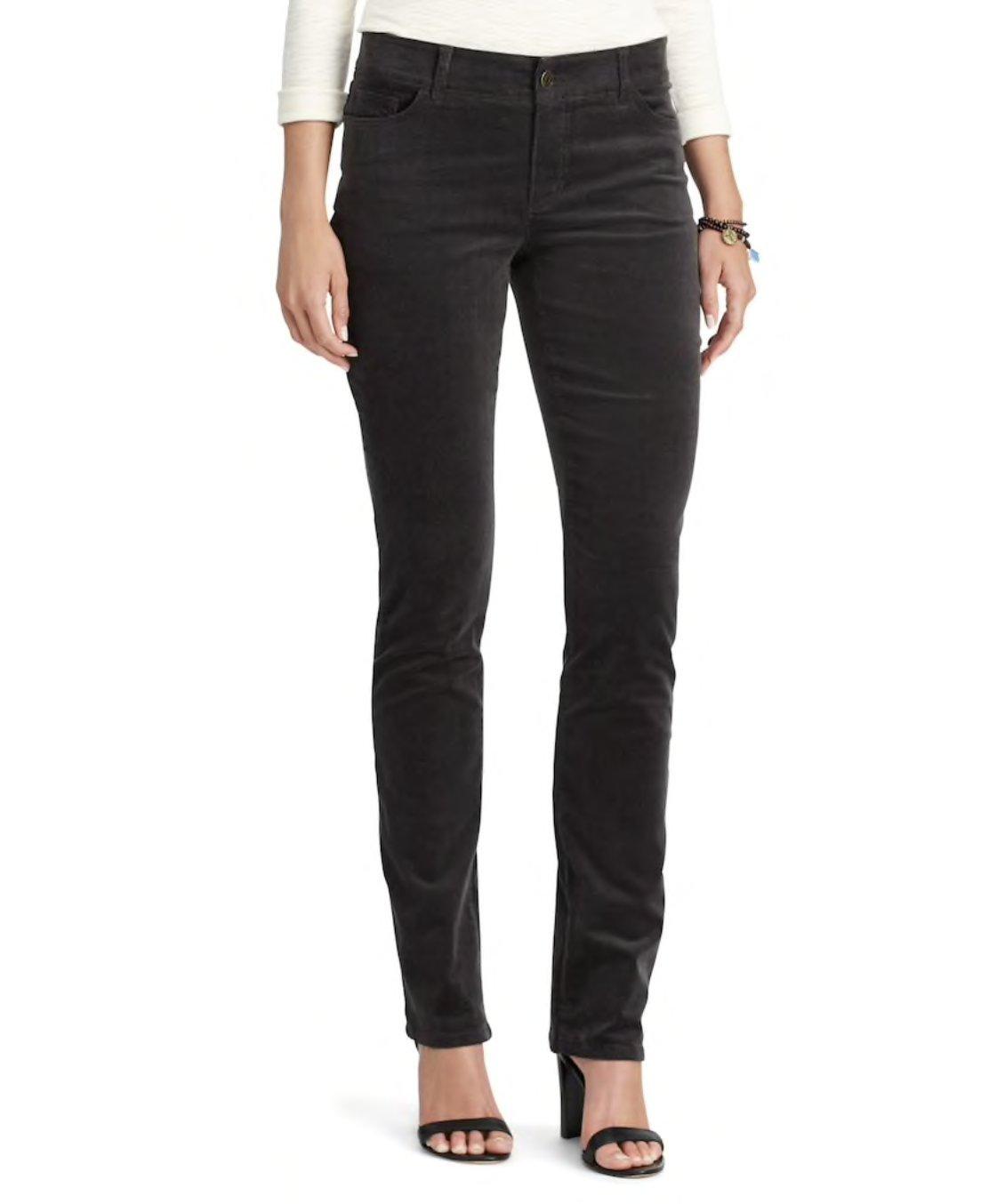 Chaps Petite 4-Way Stretch Straight-Leg Corduroy Pants (Grey, 6 Petite)